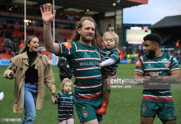 Sam Harrison of Leicester Tigers thanks the fans after his last match for Leicester Tigers during the Gallagher Premiership Rugby match between...
