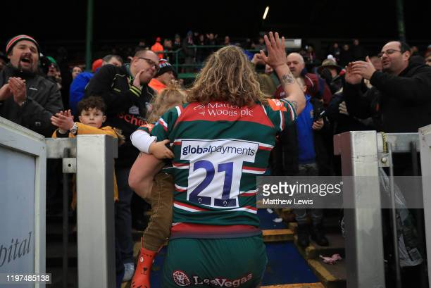 Sam Harrison of Leicester Tigers thanks the fans as he walks off the pitch after his last match for Leicester Tigers during the Gallagher Premiership...
