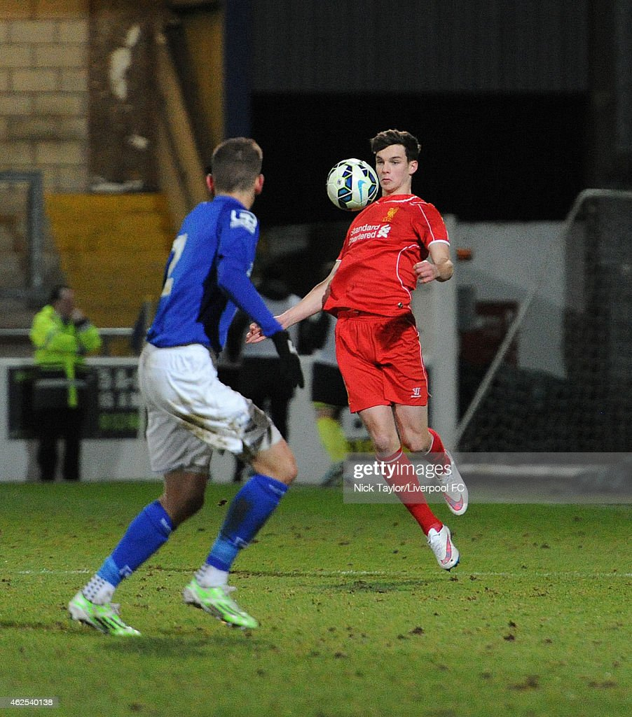 Sam Hart of Liverpool in action during the FA Youth Cup 5th Round match between Liverpool and Birmingham City at The Swansway Chester Stadium on January 30, 2015 in Chester, England.
