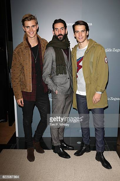 Sam Harwood Luke Waller and Harry Rowley attend the opening of Ermenegildo Zegna new boutique in London at Ermenegildo Zegna Boutique on November 9...