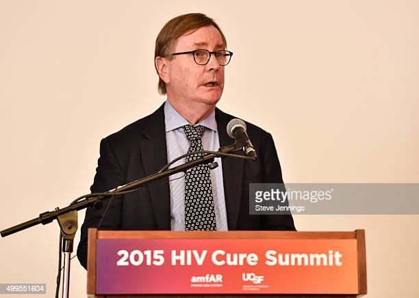 Sam Hawgood MBBS Chancellor and Professor UCSF speaks at the 2015 HIV Cure Summit at UCSF Global Health and Clinical Sciences Building on December 1...