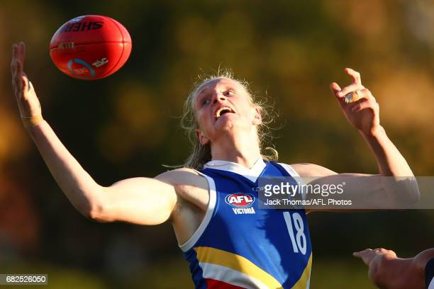 Sam Hayes of the Ranges marks the ball during the round seven TAC Cup match between the Eastern Ranges and the Bendigo Pioneers at Box Hill City Oval...