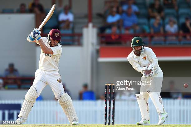 Sam Heazlett of Queensland bats during day three of the Sheffield Shield Final match between Queensland and Tasmania at Allan Border Field on March...