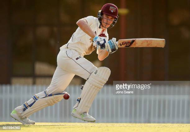 Sam Heazlett of Queensland plays a shot during day three of the Sheffield Shield final match between Queensland and Tasmania at Allan Border Field on...