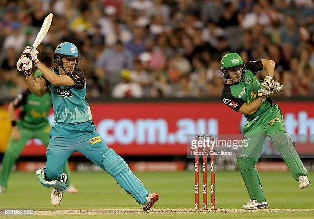 Sam Heazlett of the Brisbane Heat bats during the Big Bash League match between the Melbourne Stars and the Brisbane Heat at Melbourne Cricket Ground...