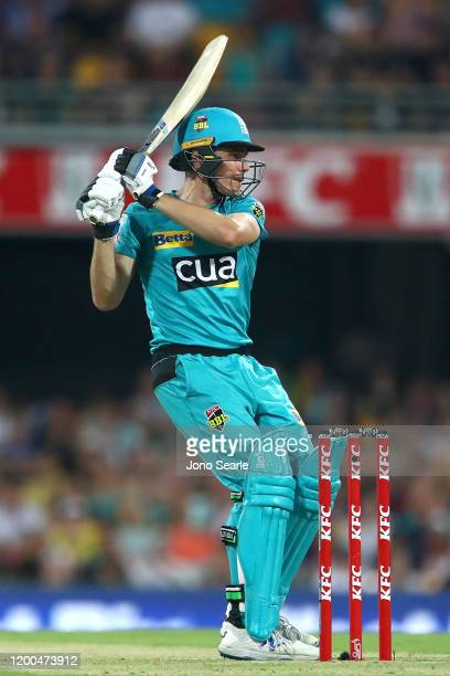 Sam Heazlett of the Heat plays a shot during the Bash Bash League match between the Brisbane Heat and Melbourne Renegades at The Gabba on January 19,...