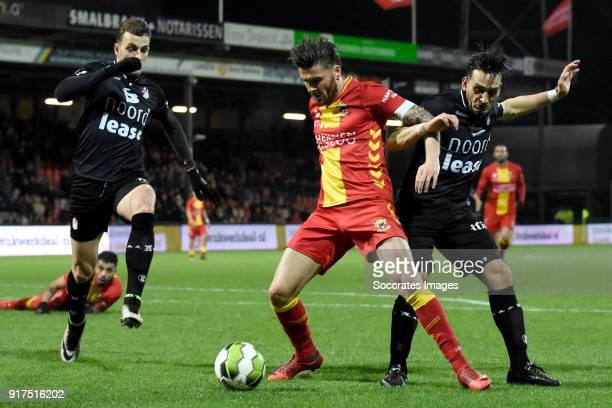 Sam Hendriks of Go Ahead Eagles Gersom Klok of FC Emmen during the Dutch Jupiler League match between Go Ahead Eagles v FC Emmen at the De...
