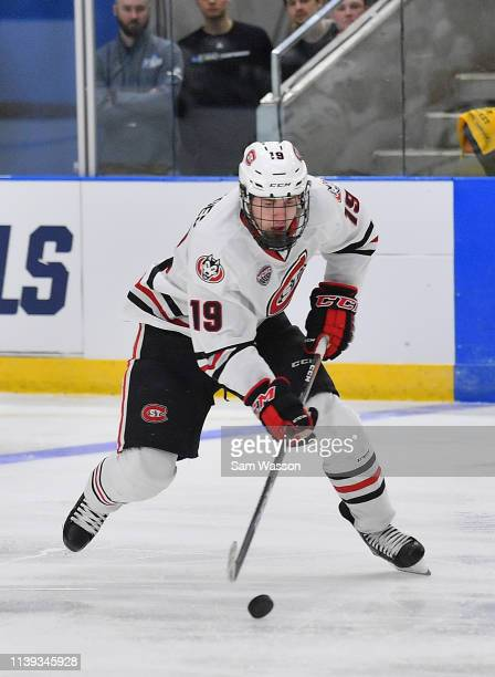 Sam Hentges of the St Cloud State Huskies skates with the puck during his team's NCAA Division I Men's Ice Hockey West Regional Championship...