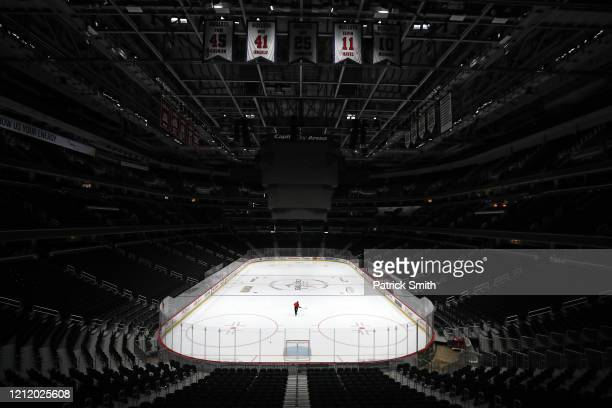 Sam Hess, Operations with Monumental Sports & Entertainment, skates alone prior Detroit Red Wings playing against the Washington Capitals at Capital...