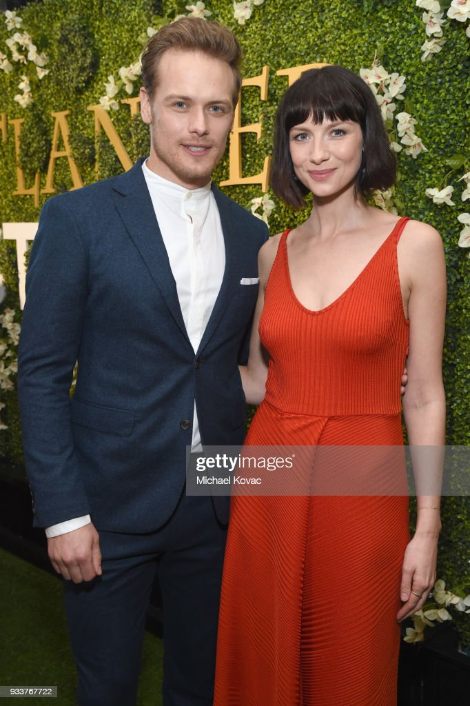 Sam Heughan (L) and Caitriona Balfe attend the STARZ Outlander FYC Event at Linwood Dunn Theater on March 18, 2018 in Los Angeles, California.