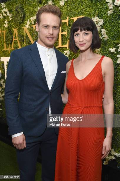 Sam Heughan and Caitriona Balfe attend the STARZ Outlander FYC Event at Linwood Dunn Theater on March 18 2018 in Los Angeles California