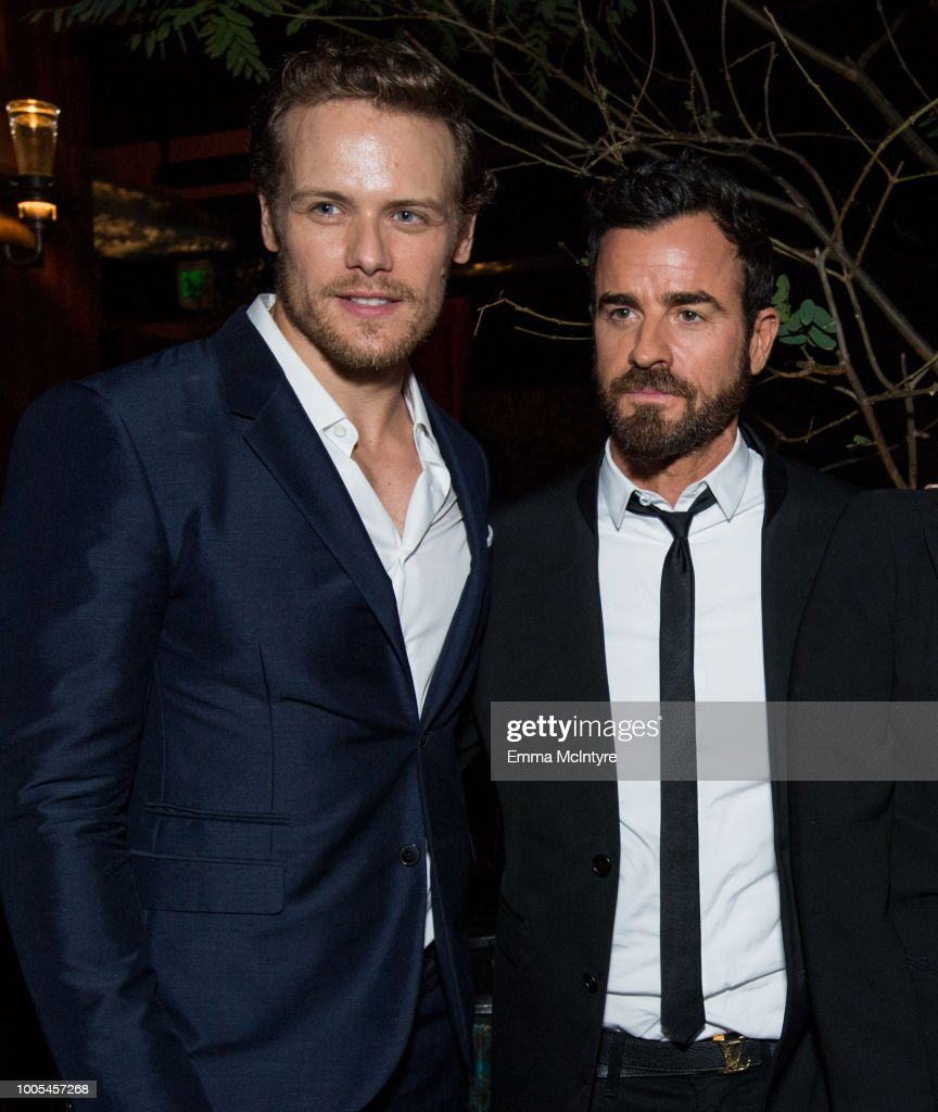 Sam Heughan (L) and Justin Theroux attend the after party for the premiere of Lionsgate's 'The Spy Who Dumped Me' on July 25, 2018 in Los Angeles, California.