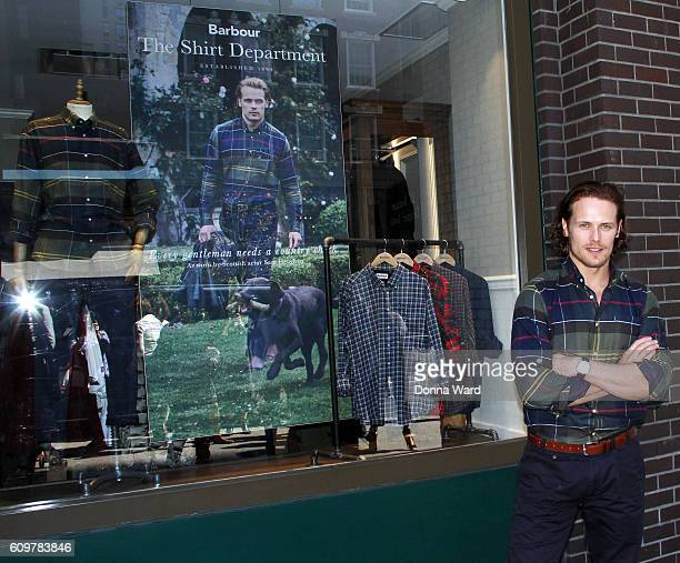 Sam Heughan appears at Barbour Madison Avenue Store on September 22 2016 in New York City