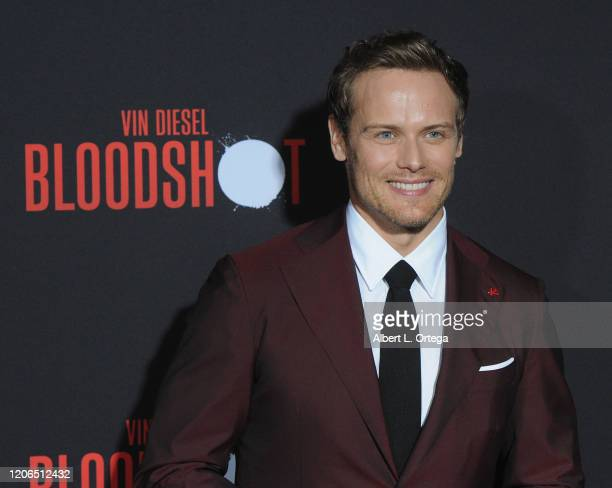 Sam Heughan arrives for the Premiere Of Sony Pictures' Bloodshot held at The Regency Village on March 10 2020 in Los Angeles California