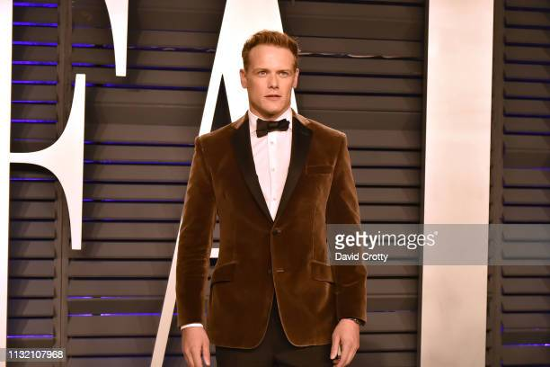 Sam Heughan attends the 2019 Vanity Fair Oscar Party at Wallis Annenberg Center for the Performing Arts on February 24 2019 in Beverly Hills...