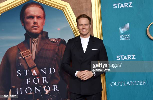 """Sam Heughan attends the Starz Premiere event for """"Outlander"""" Season 5 at Hollywood Palladium on February 13, 2020 in Los Angeles, California."""