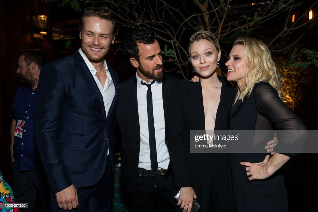 Sam Heughan, Justin Theroux, Ivanna Sakhno and Kate McKinnon attend the after party for the premiere of Lionsgate's 'The Spy Who Dumped Me' on July 25, 2018 in Los Angeles, California.