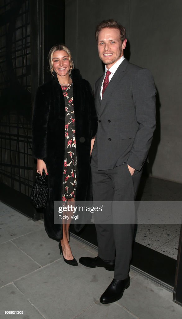 Sam Heughan seen attending Nobu Hotel Shoreditch - launch party on May 15, 2018 in London, England.