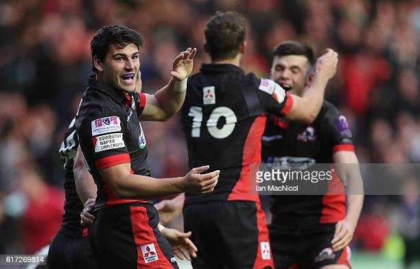 Sam Hidalgo-Clyne of Edinburgh celebrates at full time during the European Rugby Challenge Cup match between Edinburgh and Harlequins at Murrayfield...