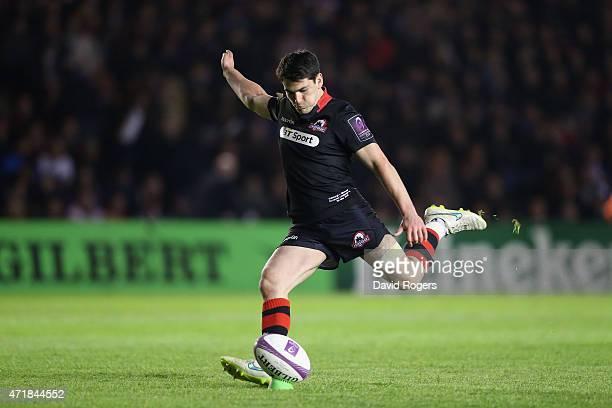 Sam Hidalgo-Clyne of Edinburgh kicks a penalty during the European Rugby Challenge Cup Final match between Edinburgh and Gloucester at Twickenham...