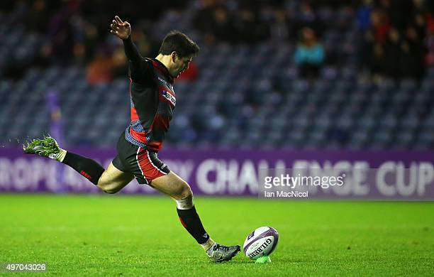Sam Hidalgo-Clyne of Edinburgh Rugby kicks a penalty during the European Rugby Challenge Cup match between Edinburgh Rugby and Grenoble at...