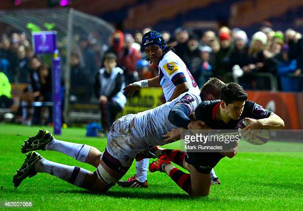 Sam Hidalgo-Clyne of Edinburgh Rugby scores a try in the first half during the European Rugby Challenge Cup Pool 4 match, between Edinburgh Rugby and...