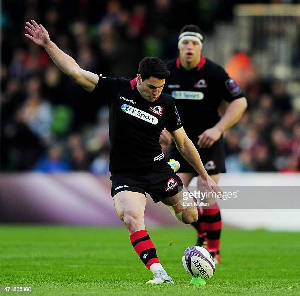 Sam Hidalgo-Clyne of Edinburgh scores the opening points with a penalty during the European Rugby Challenge Cup Final match between Edinburgh and...