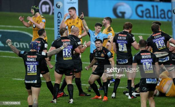Sam Hidalgo-Clyne of Exeter Chiefs celebrates their victory during the Gallagher Premiership Rugby final match between Exeter Chiefs and Wasps at...