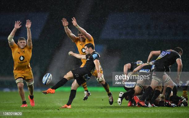 Sam Hidalgo-Clyne of Exeter Chiefs clears the ball during the Gallagher Premiership Rugby final match between Exeter Chiefs and Wasps at Twickenham...