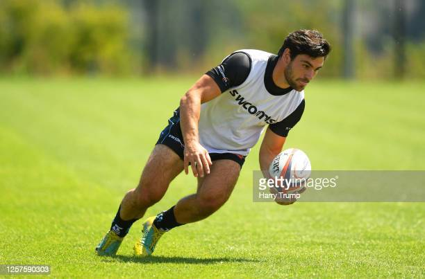 Sam Hidalgo-Clyne of Exeter Chiefs controls the ball during an Exeter Chiefs Training Session at Sandy Park on July 22, 2020 in Exeter, England.