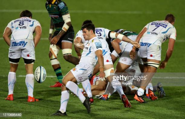 Sam Hidalgo-Clyne of Exeter Chiefs kicks the ball upfield during the Gallagher Premiership Rugby match between Northampton Saints and Exeter Chiefs...