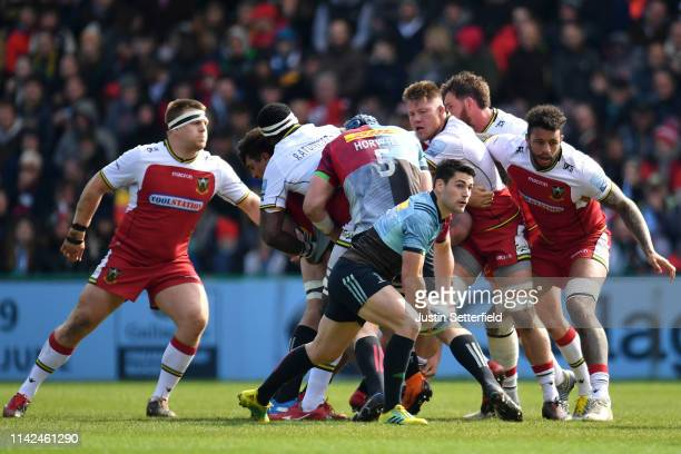 Sam Hidalgo-Clyne of Harlequins in action during the Gallagher Premiership Rugby match between Harlequins and Northampton Saints at Twickenham Stoop...