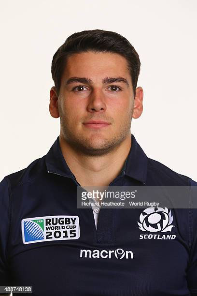 Sam HidalgoClyne of Scotland during the Scotland Rugby World Cup 2015 squad photo call at the Hilton Puckrup Hall Hotel on September 17 2015 in...