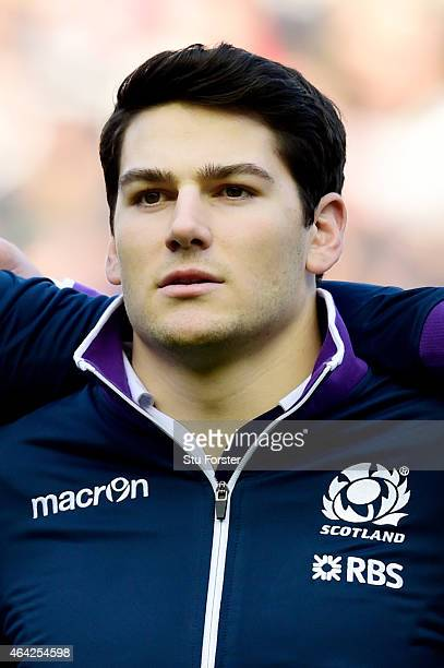 Sam Hidalgo-Clyne of Scotland lines up for the national anthem prior to kickof during the RBS Six Nations match between Scotland and Wales at...