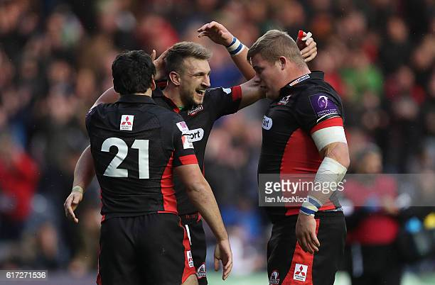 Sam HidalgoClyne Tom Brown and Murray McCallum of Edinburgh celebrate at full time during the European Rugby Challenge Cup match between Edinburgh...