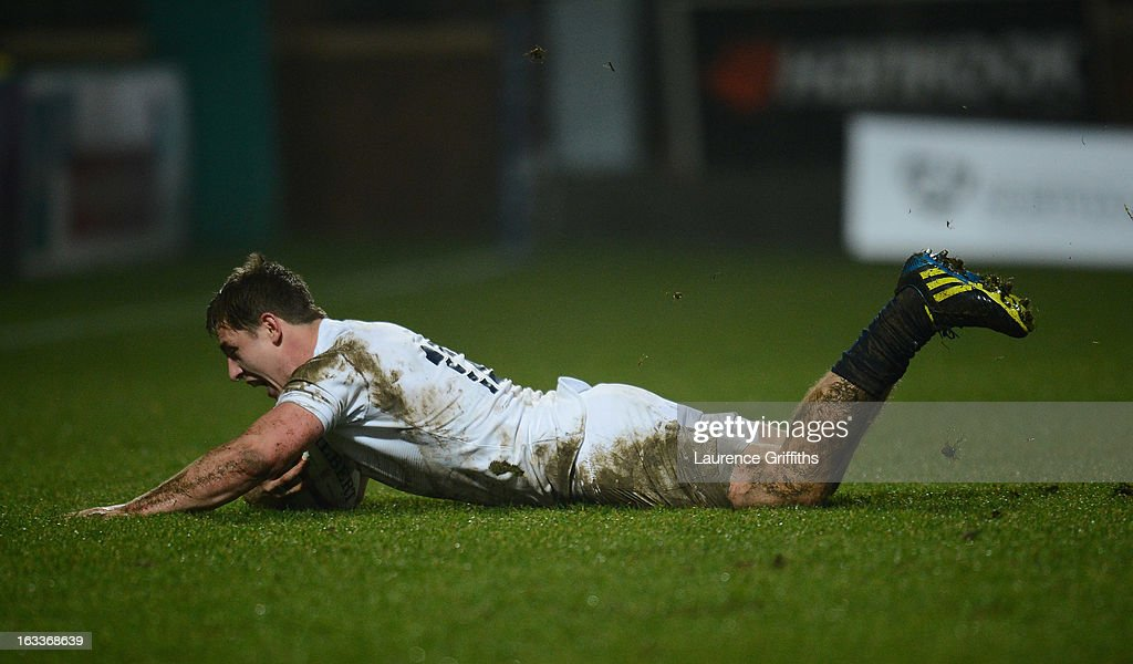 Sam Hill of England scores a first half try during the International match between England U20 and Italy U20 at Franklin's Gardens on March 8, 2013 in Northampton, England.