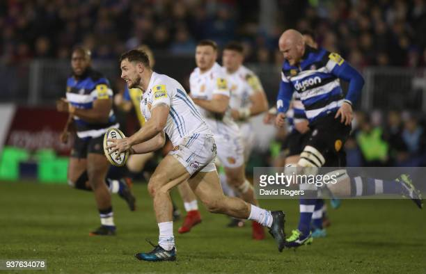 Sam Hill of Exeter breaks with the ball during the Aviva Premiership match between Bath Rugby and Exeter Chiefs at the Recreation Ground on March 23...