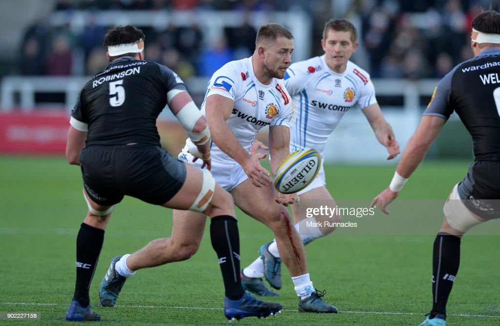 Sam Hill of Exeter Chiefs in action during the Aviva Premiership match between Newcastle Falcons and Exeter Chiefs at Kingston Park on January 7, 2018 in Newcastle upon Tyne, England.