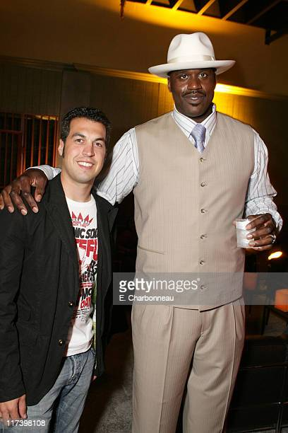 Sam Hornish Jr and Shaquille O'Neal during General Motors Presents 3rd Annual GM AllCar Showdown Hosted by Shaquille O'Neal Backstage and Audience at...