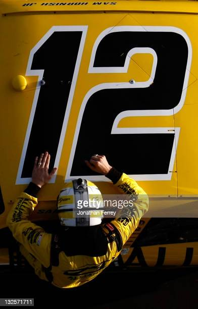Sam Hornish Jr driver of the Alliance Truck Parts Dodge celebrates after winning the NASCAR Nationwide Series WYPALL 200 at Phoenix International...