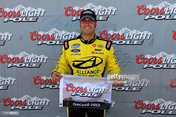 Sam Hornish Jr driver of the Alliance Truck Parts Ford wins the Coors Light Pole award for the STP 300 NASCAR Nationwide Series at Chicagoland...