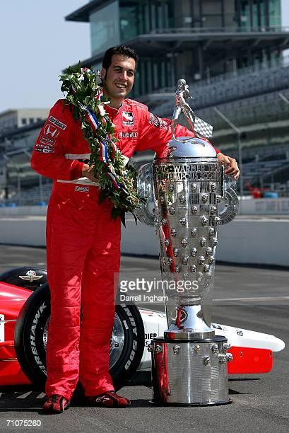 Sam Hornish Jr driver of the Marlboro Team Penske Dallara Honda poses during the Official Borg Warner Trophy presentation for the IRL IndyCar Series...