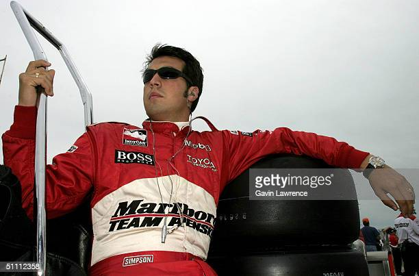 Sam Hornish Jr driver of the Marlboro Team Penske Toyota Dallara during practice for the Indy Racing League IndyCar Series Menards AJFoyt Indy 225 on...