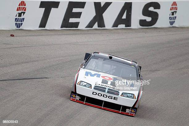 Sam Hornish Jr driver of the Mobil 1 Dodge drives on track during practice for the NASCAR Sprint Cup Series Samsung Mobile 500 at Texas Motor...