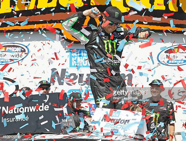 Sam Hornish Jr driver of the Monster Energy Toyota celebrates in victory lane after winning he NASCAR Nationwide Series Get To Know Newton 250...