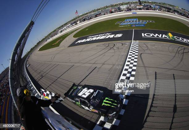 Sam Hornish Jr driver of the Monster Energy Toyota takes the checkered flag to win the NASCAR Nationwide Series Get To Know Newton 250 Presented By...