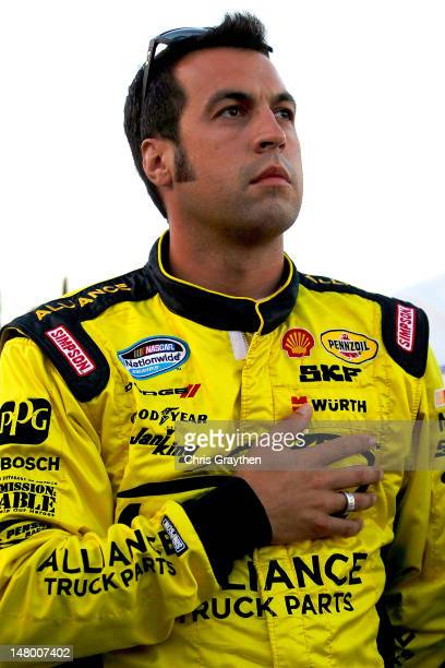 Sam Hornish Jr driver of the Shell/Pennzoil Dodge stands on the grid after NASCAR announced that AJ Allmendinger failed a random drug test and was...