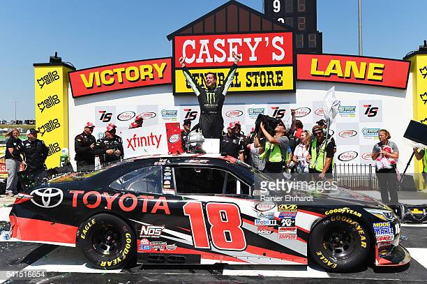 Sam Hornish Jr driver of the Toyota Camry Toyota celebrates in Victory Lane after winning the NASCAR XFINITY Series American Ethanol E15 250...