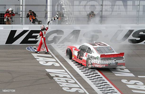Sam Hornish Jr driver of the Wurth Ford celebrates after winning the NASCAR Nationwide Series Sam's Town 300 at Las Vegas Motor Speedway on March 9...