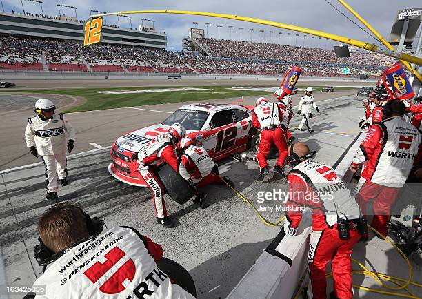 Sam Hornish Jr driver of the Wurth Ford pits during the NASCAR Nationwide Series Sam's Town 300 at Las Vegas Motor Speedway on March 9 2013 in Las...